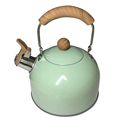 ZJZ Hervidor de té, Hervidor con silbido, Acero Inoxidable, Hervidor de té Verde con Gas de Menta