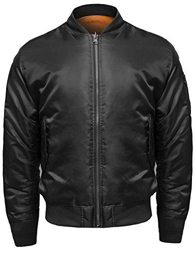 Enjoybuy Mens Lightweight Bomber Jackets Fall Winter Outerwear Full Zip Up Baseball Varsity Jacket (Large, Army Green)