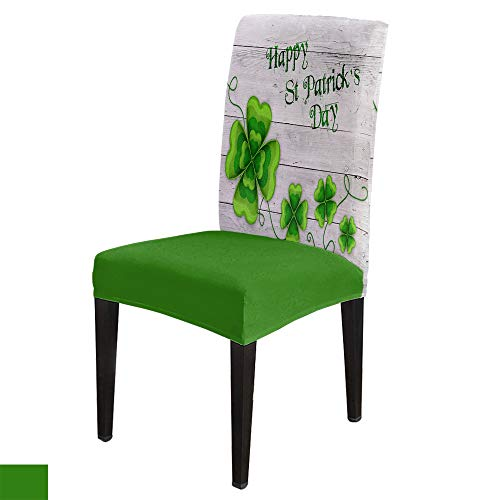 Dining Chair Covers, Stretch Protectors Slipcovers Green Four Leaf Clover on Rustic Wood Removable Washable Seat Cover for Home Living/Dining Room Party Hotel St Patrick's Day