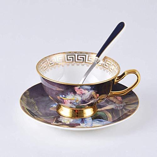 Nuokix Juego de café Taza de té de cerámica Retro Sistema de la Taza Señora de la Belleza de Porcelana de China de Hueso Teatime la Tarde Tazas de café, 1-Piezas