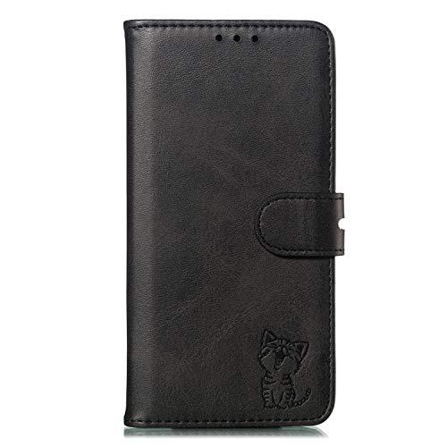 Lomogo Xiaomi Mi Max 3 Hülle Leder, Schutzhülle Brieftasche mit Kartenfach Klappbar Magnetisch Stoßfest Handyhülle Case für Xiaomi Mi Max3 - LOXLI010680 Schwarz