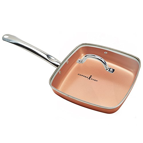 Copper Chef 9.5 Inch Square Frying Pan With Lid - Skillet with Ceramic Non Stick Coating. Perfect Cookware For Saute And Grill