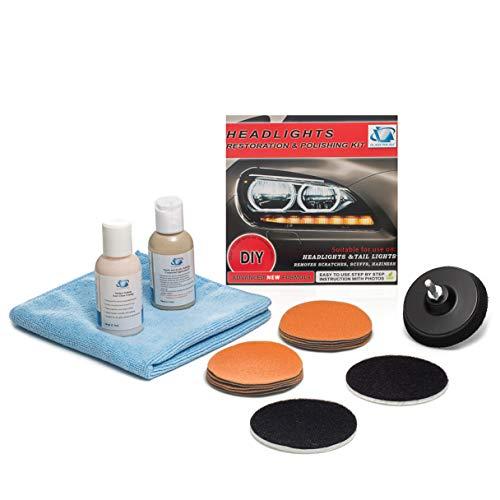 Kit de réparation pour phares et feux arrière - Supprime les rayures, restaure les phares ternes, décolorés, décolorés