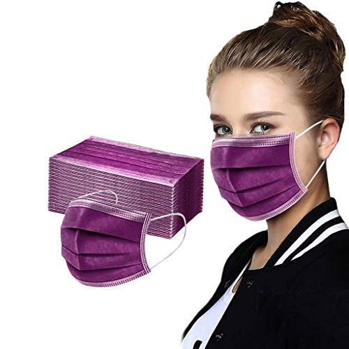 50 Stück Rosa/Lila Einmal-Mundschutz, Adult 3 Schutzschichten Atmungsaktive Mundbedeckung, Baumwolle, Bandana Face-Mouth Cover Sommerschal (7)