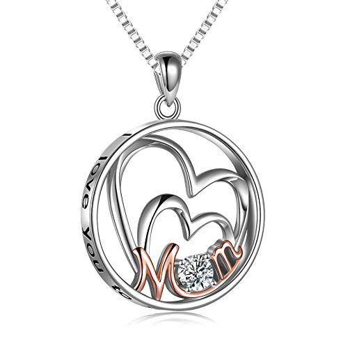 Mom Geschenke I love you to the Moon and Back Necklace for Mothers Day 925 Sterling Silver Jewelry