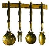 arterameferro Set mestoli Decorativi da Cucina in Ottone Lucido e Legno 4 Pezzi