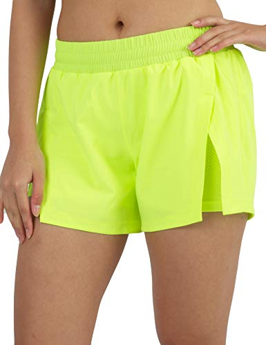 AJISAI Women's 2 in 1 Running Shorts with Zip Pocket Athletic Workout Sports Shorts Lime XL