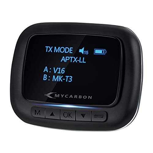 MYCARBON Bluetooth 5.1 Transmitter and Receiver, Wireless Aux Bluetooth Adapter with OLED Screen, Low Latency Bluetooth Audio Adapter, Dual Device Connection, for Headphones, Car, Home Stereo