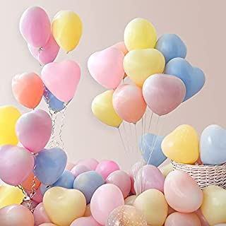 100pcs Heart Shaped Latex Balloons Multicolor 12 Inch Assorted Colors Macaron Love Heart Helium Balloon for Valentine's Da...