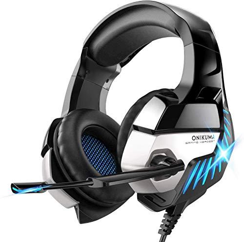 avis test adoucissant professionnel Casque ONIKUMA Ps4, casque de jeu Casque Xbox One Casque PC avec son surround et lumière LED bleue…