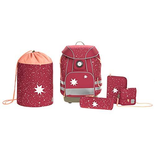 LÄSSIG Schulranzen Set mit Sporttasche, Federmäppchen, Stiftemäppchen, Turnbeutel und Brustbeutel ab 6 Jahre/School Bag Set Magic Bliss Girls