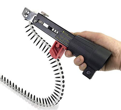 HBRE Adaptador De Pistola De Clavos De Cadena,Juego De Clavos De CinturóN De 1 Cadenas Destornillador De Pared De Yeso Autoalimentado para Taladros,Chain-Nail-Gun