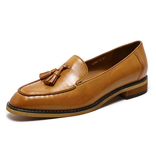 Mona flying Damen Flach Slipper Schuhe Leder Penny Tassel Loafer