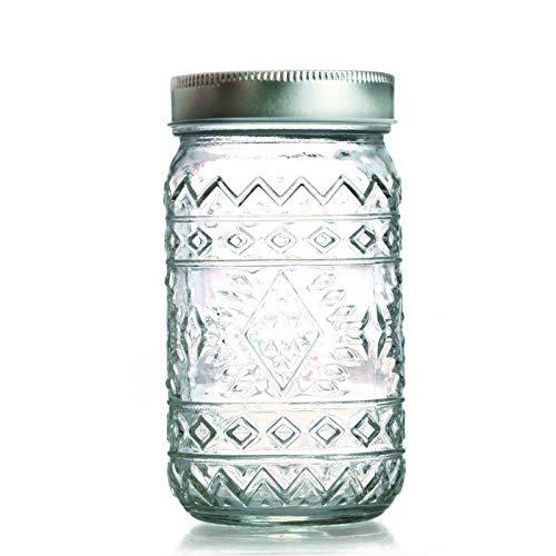 Bocal verre avec couvercle 50 cl - Ethnique