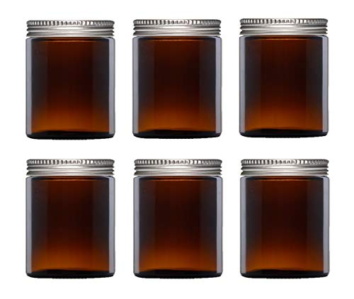 Avalon Cosmetic Packaging - PACK of 6 - Empty AMBER Glass Jars with Aluminum Silver Airtight Lids for Aromatherapy Blends/Creams/Candlemaking (180ml)