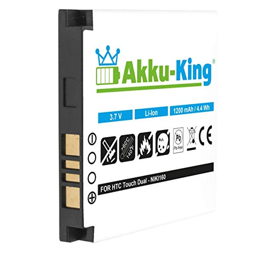 Akku-King Akku kompatibel mit HTC BA S260 NIKI160 - Li-Ion 1200mAh - für Touch Dual, Nike, O2 XDA Star, T-Mobile MDA Touch Plus Slim