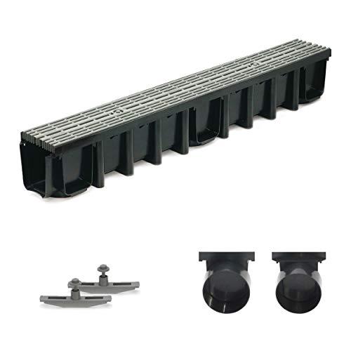 1m Entwässerungsrinne Terrassenrinne, System A15 148mm Stegrost Kunststoff, grau-line, komplett SET