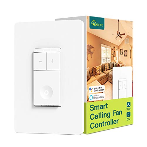 Treatlife Smart Ceiling Fan Control 4 Speed Fan Switch for Ceiling Fan Neutral Wire Required Smart Home Devices that Works with Alexa and Google Home Remote Control Schedule No Hub Required