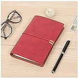 Cuaderno de piel sintética A5 con forro de 2 unidades, desmontable, reemplazable, con correa elástica, para oficina, escuela, hogar, negocios, escritura, color rojo