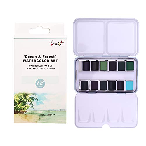 Watercolors Paint Set of 12 Assorted Confections Watercolor Pans in Portable Tin Box for Artists Art Watercolor Painting Ocean&Forest Series