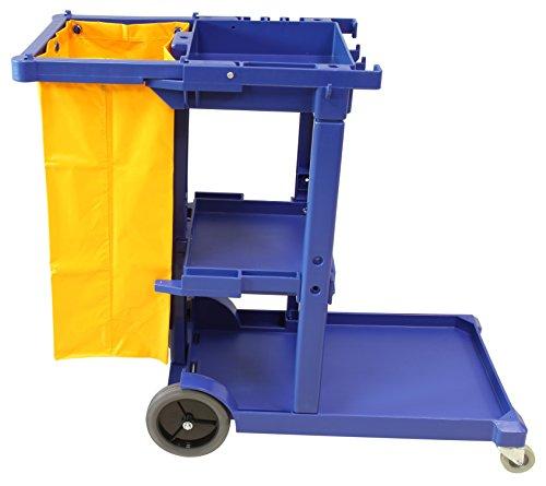 Carro de limpieza multifunción Clim Profesional®. Carro de limpieza de calidad especial para colectividades, hoteles, hostales, etc. Carro con ruedas, lona y 3 bandejas para productos de limpieza
