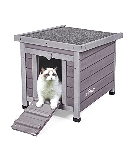 Aivituvin Wooden Dog/Cat House Outdoor and Indoor,Feral Pet Houses