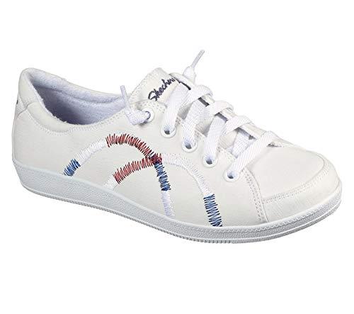 Skechers Women's Madison Ave-Allow Me Sneaker, White/Red/Navy, 11