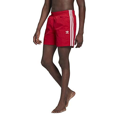 adidas 3 Stripes Badeshorts Shorts (L, red/White)