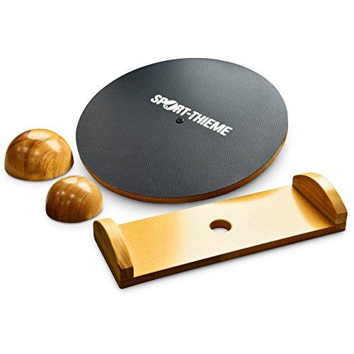 Sport-Thieme Balance-Board Set Deluxe | Premium Therapiekreisel | Austauschbare Untersetzer + Wippe | Bis 150 kg | Holz, PVC-Oberfläche | ø 39,5 cm | Deutsche Markenqualität