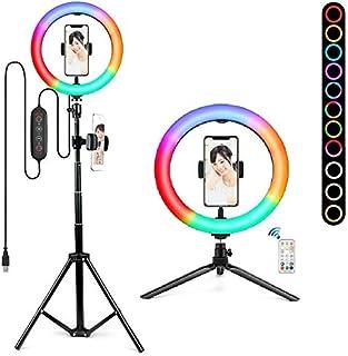 LED リングライト 自撮りライト 3色モード&RGB13色&FLASH13モードBUGHULL LED美顔 美容リングライト 撮影ライト 照明10インチ 三脚 スタント & フォーンホルダー付き 自撮り 調光・調色・高さと角度調節可能 自撮り...