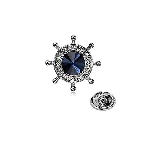 Mcuties Brooch Broche Chaqueta De Traje Azul Marino para Hombre, Broche, Cristal, Timón, Broche, Insignia @ E