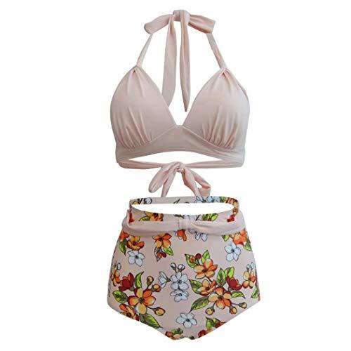 Ruanyi Sexy Badeanzüge, Cover Up Beige Floral Badeanzug Neckholder Floral Hohe Taille Zwei Stücke Sexy Bikini Für Damen (Farbe : Beige, Größe : L)