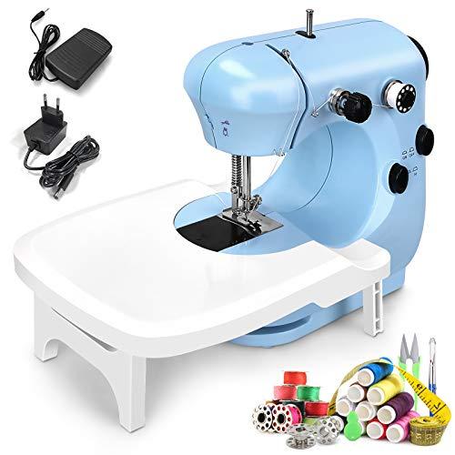 CHANONE Nähmaschine Mini mit Verlängerungstisch und Nachtlicht Blau