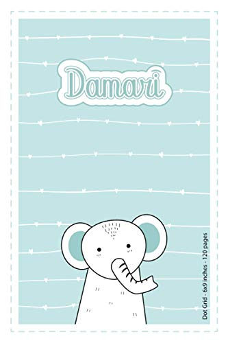 Damari: Personalized Name Dot Grid Paper Notebook Light Blue Elephant | 6x9 inches | 120 pages: Notebook for drawing, writing notes, journaling, ... writing, school notes, and capturing ideas