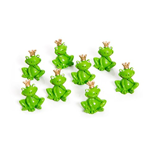 8 Stück witzige kleine grüne Froschkönig Frosch Figuren 3 cm Miniaturen mit Gold-Krone - Tisch-Deko Gastgeschenke Mitgebsel give-away - Glücksbringer Märchen Talisman für Kinder und Erwachsene!