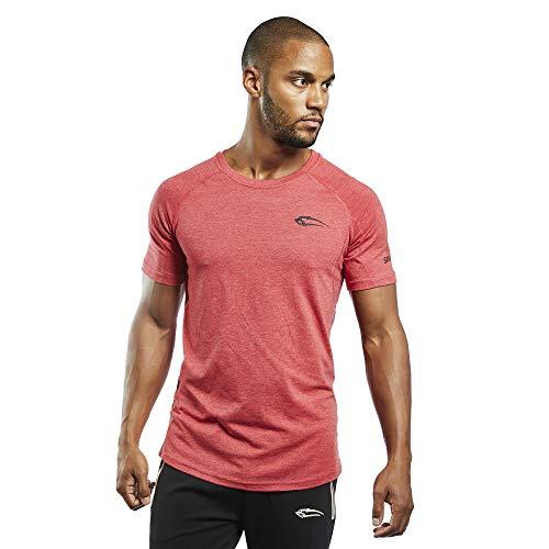 SMILODOX Slim Fit T-Shirt Herren | Kurzarm Funktionsshirt für Sport Fitness Gym & Training | Trainingsshirt - Laufshirt - Rundhals Sportshirt mit Logo, Farbe:Rot, Größe:S