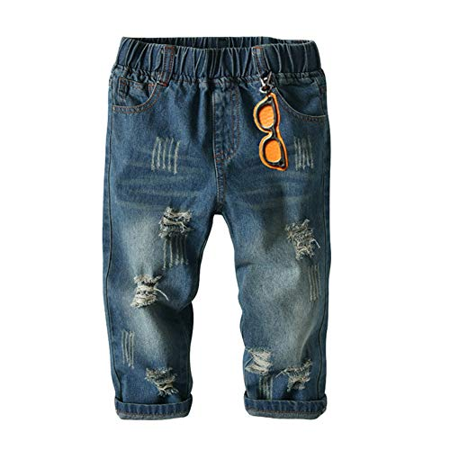 LXXIASHI Toddler Kids Baby Boys Ripped Jeans High Elastic Waist Casual Denim Long Pants Trousers Clothes 1-7Y (Ripped Jeans - Blue, 3-4 Years)