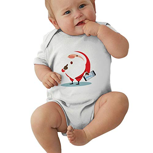 Runxin Baby Boys Girls Crew Neck Short-Sleeve Romper Santa Claus Get Lost Funny Jumpsuit White 40