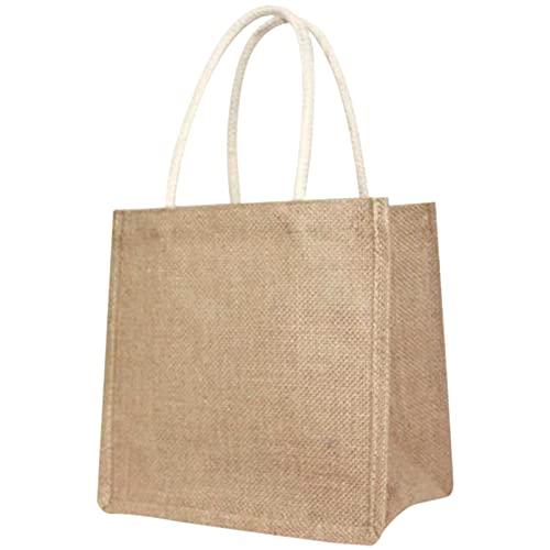 Dasing Bolsa de yute de lino Tote GrooE, reutilizable, con asas, para mujer, para la compra, DIY, respetuosa con el medio ambiente, M