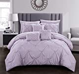 Chic Home Zita 8 Piece Comforter Set Complete Bed in A Bag Pinch Pleated Ruffled Pintuck Bedding with Sheet Set and Decorative Pillows Shams Included, Twin Lavender