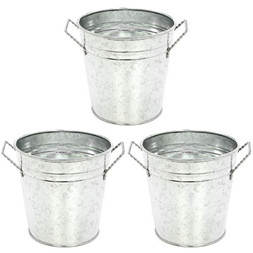 Hosley 3 Pack of Galvanized Planters - 5' Diameter. Ideal Gift for Weddings, Special Events, Parties. W9