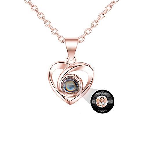 Foto personalizada I Love You Collar Plata Oro rosa 100 idiomas Proyección Colgante Regalo de joyería para mamá Mujer Esposa Collar del día de la madre