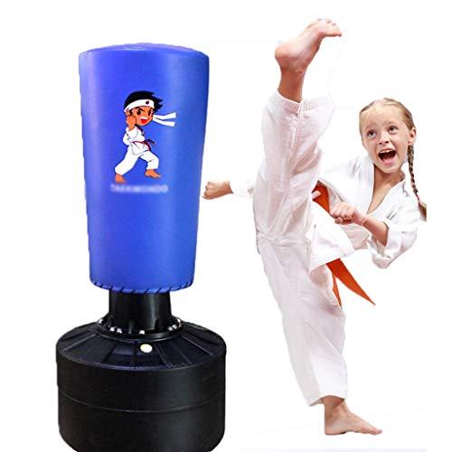 Punchingbälle Vertikale Sandsäcke for Kinder Tumbler Boxing Speed Ball Sanda Taekwondo Training Sandsack Taekwondo Martial Arts Training Fitness Sandsack (Color : Blue, Size : 100 * 35cm)