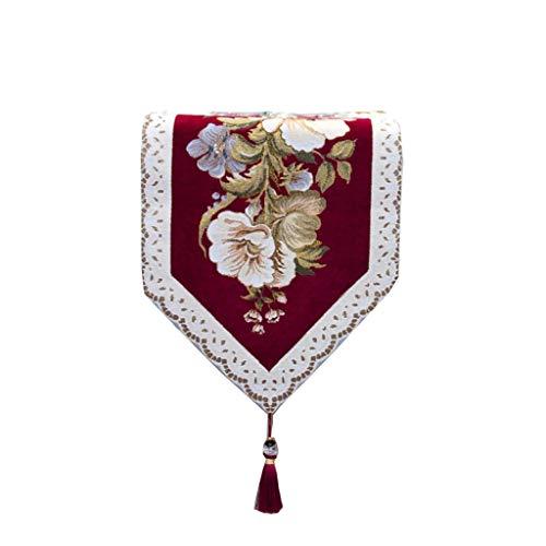 Chemin de table-ligne de tissu jacquard utilisé pour la table à manger table basse coiffeuse coiffeuse comptoir de bar (Couleur : Rouge, Taille : 34×210cm)