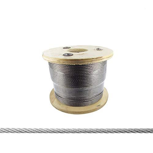 Metalideal | Câble En Inox AISI 316L 7 Torons Souple Pour Garde-Corps Et Nautisme, Diamètre Ø 4 mm, Longueur 100 Mètres