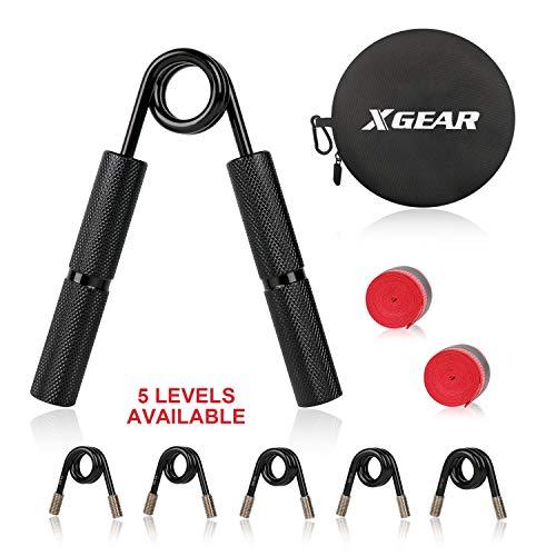 XGEAR verstellbar Hand Grifftrainer Aluminium Griff Handtrainer Legierungsfeder Fingerhantel 5 Stufen 45-136KG 100lb - 300lb Handmuskeltrainer schwarz (1 STK.)