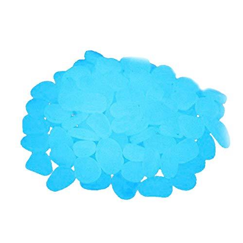 Blau Leuchtsteine, Leuchtende Steine 500 Stücke Leuchtsteine Leuchtstein Garten Gehweg, Leuchtsteine Garten Blau Dekorative Steine für Gehwege Outdoor Decor Aquarium Pfad Rasen Garten
