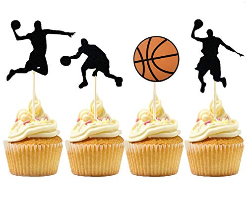 36 PCS NBA Star Cupcake Topper Basketball Cake Toppers Basketball Player Cupcake Picks Basketball Star Cupcake Decoration for Basketball Theme Party Decorations Supplies