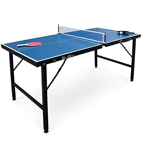 Alice's Garden Mini Table de ping Pong 150x75cm - Table Pliable Indoor Bleue, avec 2 Raquettes et 3 balles, Valise de Jeu pour Utilisation intérieure, Sport Tennis de Table