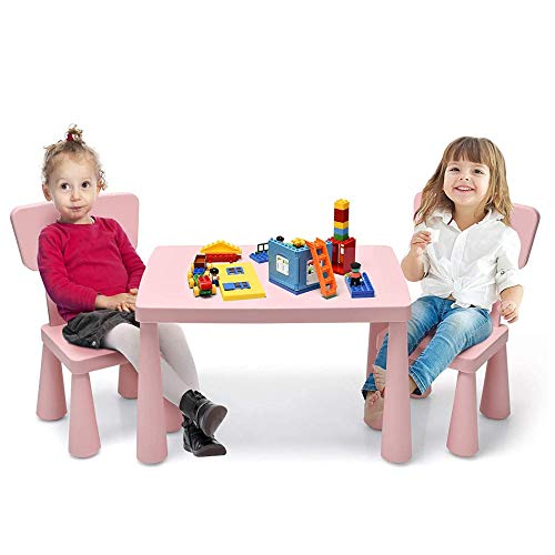 COSTWAY Kids Table and Chair Set, Children Multi Activity Desk with 2 Chairs, 3-Piece Toddler Furniture Set for Eating, Drawing, Writing, Craft, Snack Time, 77 x 55 x 50 cm (Pink)